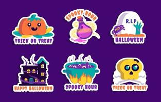 Trick or Treat Sticker Collections vector