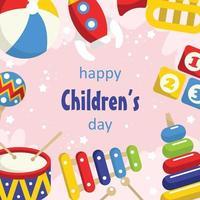 fondo de juguetes del día del niño feliz vector