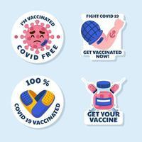 covid 19 después del juego de pegatinas de vacuna vector