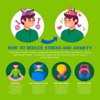 infografía de cómo reducir el estrés y la ansiedad. vector