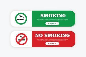 zona de fumadores y señal de zona de no fumadores vector