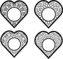 Cute Heart Frame Doodles Free Vector
