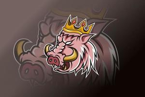 plantilla de logotipo de equipo de deportes electrónicos de corona de cerdo vector