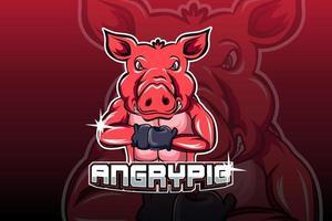 vector de logotipo de deporte de cerdo enojado e