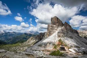Panorama of the meadows Dolomites Falzarego pass in Cortina d'Ampezzo photo