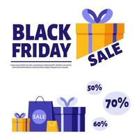 Black friday banner. Gifts and purchases. vector