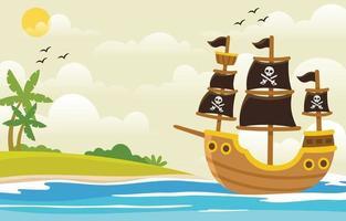 Pirates Ship Cartoon Background vector