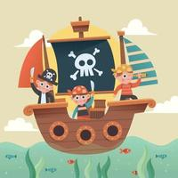 Little Pirates On Ship vector