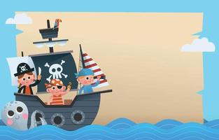 Pirates on Ship Background vector