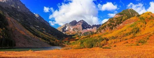 Panoramic view of scenic Maroon bells peaks near Aspen, Colorado photo