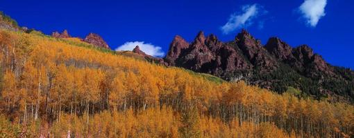 Panoramic view of Rocky mountains surrounded with bright fall foliage photo