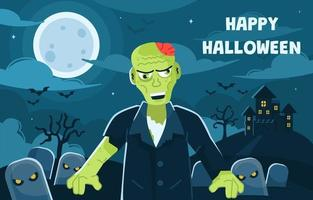 Halloween Background with Spooky Zombies vector