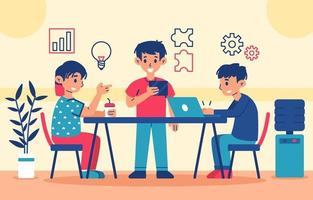 Three Youths Collaborate Concept vector