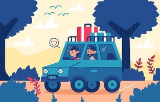 Travel with Car Concept vector