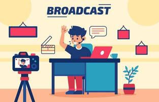 Young Man is Doing a Live Online Broadcast vector