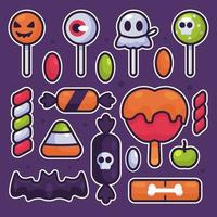 Halloween Candy Stickers Collection vector