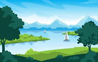 Scenery of a Lake and Nature Landscape vector