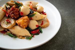 Spicy stir fried fish balls photo