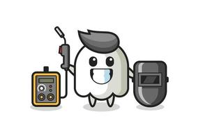 Character mascot of ghost as a welder vector