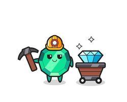 ilustración de personaje de piedra preciosa esmeralda como minero vector