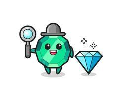 Ilustración del personaje de piedra preciosa esmeralda con un diamante vector