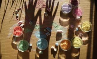 Colorful chalk on cardboard photo