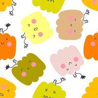 Multicolor pumpkins vector seamless pattern