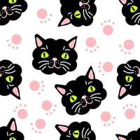 Seamless pattern with cat faces and paws. vector