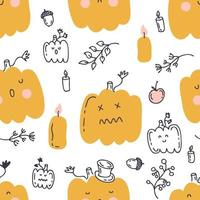 Seamless pattern with pumpkins and autumn elements vector