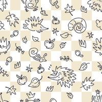 Autumn seamless pattern of hedgehogs doodles on a checkered background vector