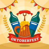 Oktoberfest with Beer and Sausage Concept vector