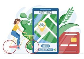 A convenient method of contactless payment via app for a bike rental vector