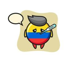 colombia flag badge mascot character with fever condition vector
