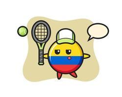 personaje de dibujos animados de la insignia de la bandera de colombia como tenista vector