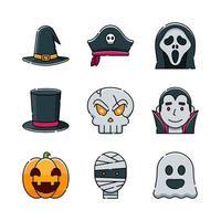 conjunto de iconos de fiesta de disfraces de halloween vector