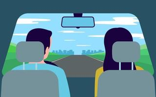 People travel by car, road trip to nature, back view. Family vector