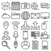 Network Icon Pack with line icon style vector