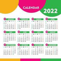 2022 colorful calendar design Free Vector