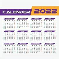 One page 2022 Calendar Purple and Yellow Color vector
