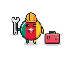 Mascot cartoon of cameroon flag badge as a mechanic vector