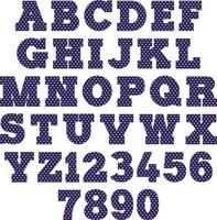 navy blue polka dot alphabet vector