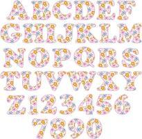 pink floral pattern alphabet vector