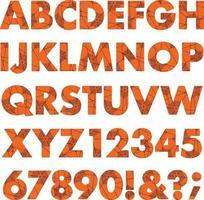 Halloween black orange spider web pattern alphabet vector