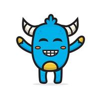 cartoon cute blue monster vector