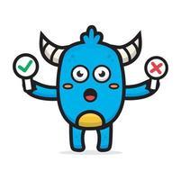 cartoon cute blue monster holding sign board vector