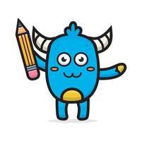 cartoon cute blue monster holding pencil vector