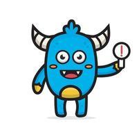 cartoon cute blue monster holding sign vector