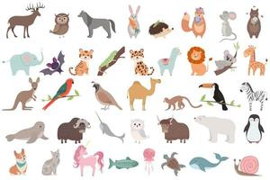 Big set with cute animals in cartoon style vector