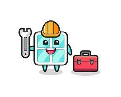 Mascot cartoon of window as a mechanic vector