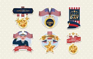 etiqueta engomada del día de los veteranos vector